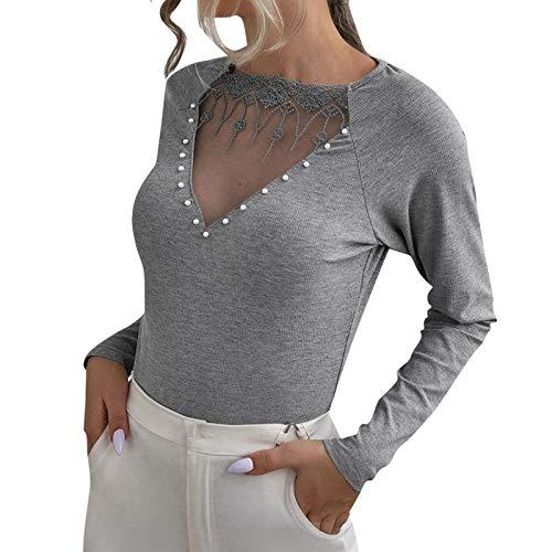 BaZhaHei Mode 2019 New Damen Tops Langarmshirt Bluse Hemd Tshirt Einfarbig Patchwork Spitze Lang Hemden Oberteil Body Shirts (XL, Grau A)