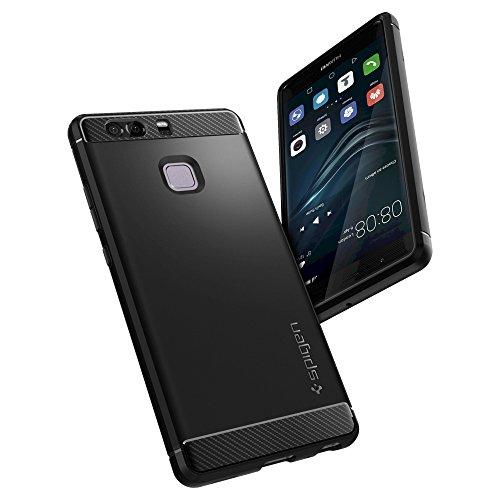 Spigen Huawei P9 Hülle, [Rugged Armor] Elastisch [Schwarz] Ultimative Schutz vor Stürzen und Stößen [Karbon Look] Schutzhülle für Huawei P9 Case, Huawei P9 Cover Black (L06CS20376) - 4