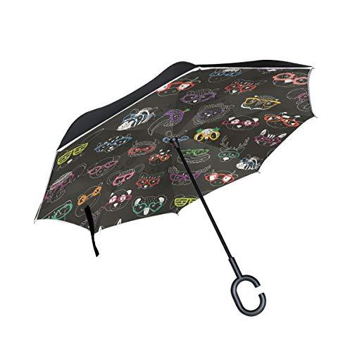 XiangHeFu Doble Capa Invertida Umbrellas Cartoon Divertidos Happy Animal Gafas de Sol Plegables a Prueba de Viento Protección UV Gran Recto para automóvil con Mango en Forma de C