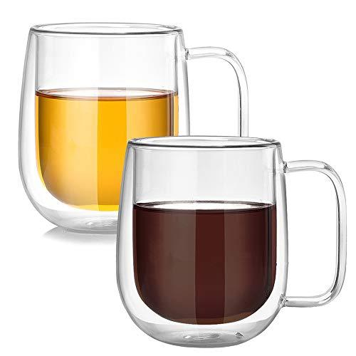 BOWD Taza de café y té de cristal, taza de aislamiento, taza...