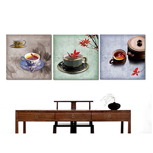 FKHLJ 3 stuks thee sproeiplaatjes op canvas geschilderd decoratief schilderij wandschilderijen No Framed 20x20cmx3pcs Geen lijst
