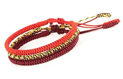 Mister Boncuks Get Lucky Knoten Armband - Tibetische Buddha Handarbeit Glücksbringer Knoten Armband - Yoga Sport -...