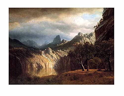 Albert Bierstadt Amanecer sobre el bosque Cuadros Decoracion Salon Con Marco Decoración Lienzo Cuadro Cuadros Modernos Baratos (35x49cm (14x19inch), sin marco)