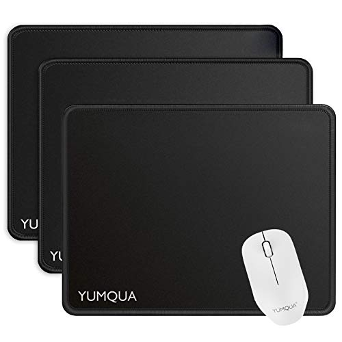 YUMQUA 3 Pack Mouse Pads [30% Larger] 11×8.6×0.12 inches with Stitched Edge, Non-Slip Rubber Base, Premium-Textured Gaming Mousepad Computer Mouse Pads for Laptop, Home & Office