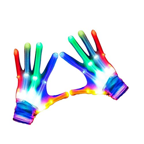 LED Gloves Colorful Flashing Finger Lighting Glove with Extra Batteries, Best Gifts for Kids (3-7 years)