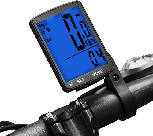 Lurowo Compteur de Vitesse pour Vélo Écran LCD sans Fil, Compteur Kilométrique Étanche Mémoire Automatique Chronomètre 8 x 5,5 x 1,8 cm, Bleu