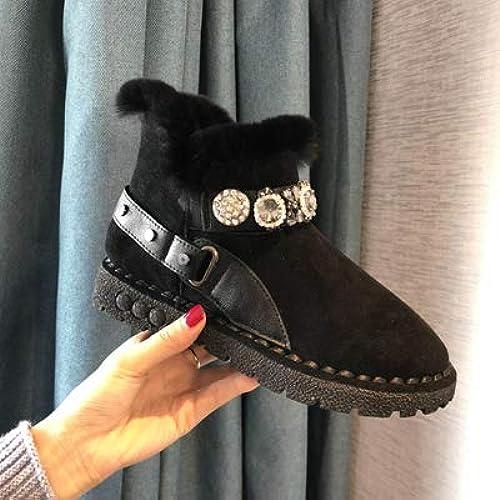 Shukun Bottes de neige épais Coton Chaud Chaussures Bottes de Neige Femme Tube Court Plat Bottes de Mode Enfants Hiver Porter des Bottes Courtes
