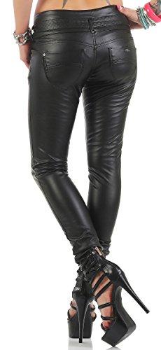 Blue Rags Kunstlederhose Damen schwarz Slim fit Größe 34