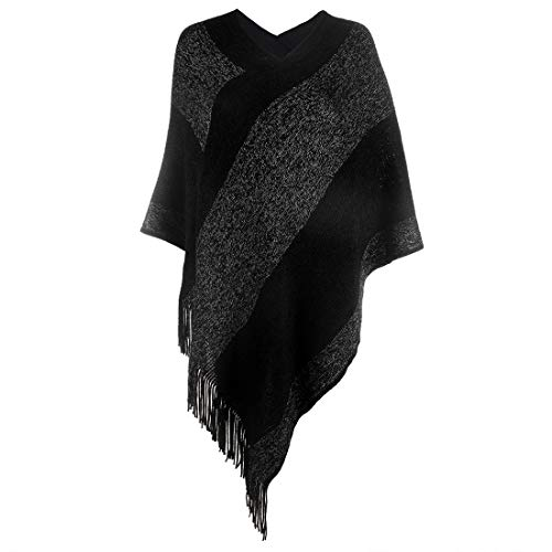 Women's Elegant Knitted Shawl Poncho with Fringed V-Neck Striped Sweater Pullover Cape...
