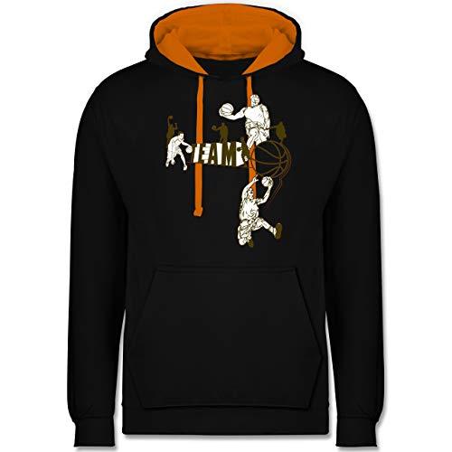 Basketball - Basketball Team - XS - Schwarz/Orange - Basketball Trikot grau - JH003 - Hoodie zweifarbig und Kapuzenpullover für Herren und Damen
