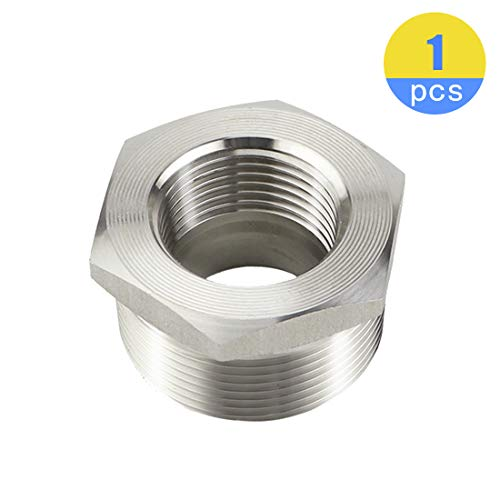 Quickun Stainless Steel Reducer Hex Bushing, 1-1/4