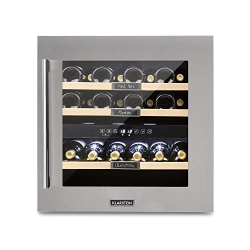 Klarstein Vinsider 36 - Nevera para vinos, Nevera de bebidas, Con pizarra, 2 zonas, Temperatura regulable entre 5 y 22 °C, 94 litros,36 botellas, 59,5 cm, Eficiencia energética Ge Clase G, Acero