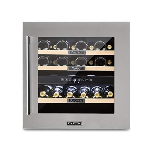 Klarstein Vinsider 36 - Cantinetta Vino, Cantinetta ad Incasso, con Lavagna, 2 Zone di Raffreddamento, Temperatura Regolabile 5-22°C, 94 L, 36 Bottiglie, Classe G, Acciaio Inox