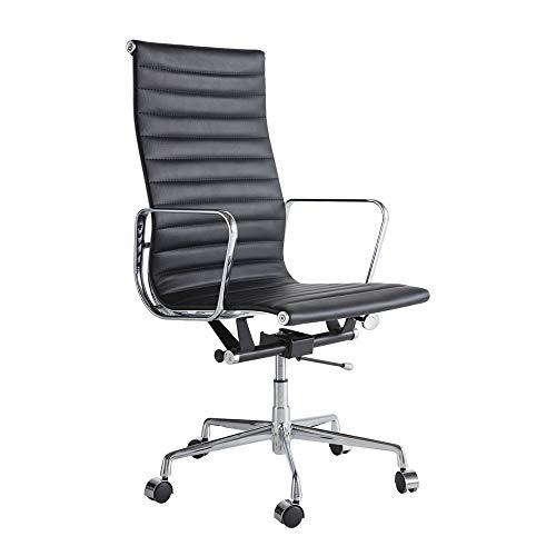X&JJ Kunstleder Stuhl, Computer-Schreibtisch-Stuhl mit Armlehnen, höhenverstellbar Rückseiten-Rücken für Home Office Moderne bequemer Bürostühle,Schwarz,High