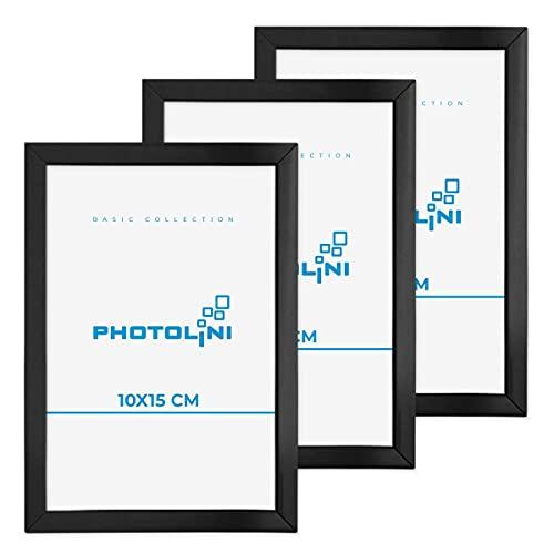 Photolini Set di 3 cornici in plastica Nero 10x15 cm con Vetro Acrilico, Accessori Inclusi | Collage di Foto | Galleria di Immagini
