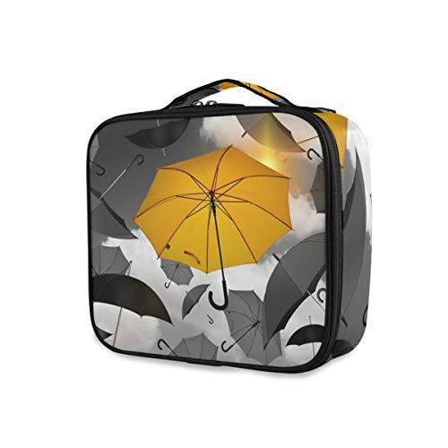 Make-uptas paraplu print geel zwart dames draagbare opslag reizen toilettas gereedschap cosmetische trekkoffer