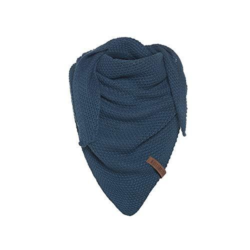 Knit Factory - Coco Dreiecksschal Junior - Mädchen Strickschal mit Wolle - Hochwertige Qualität - Kinder XXL Schal - 140 x 60 cm - Petrol