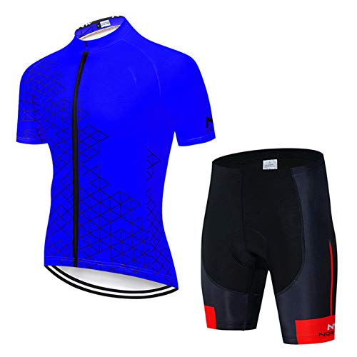 QWA Men's Short Sleeves Cycling Jersey Full Zip Set Road Bike Bicycle Shirt + Bib Shorts with 20D Gel Padded MTB Riding Clothing kit (Color : Blue 3, Size : C(M))