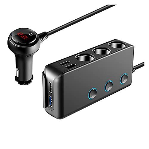 LOVELIN Lovelin17 4 Puerto USB Cargador de automóviles Cargador USB Voltímetro con 3 vías Coche Cigarette Encendedor Divisor 120W Adaptador de Corriente Cargador