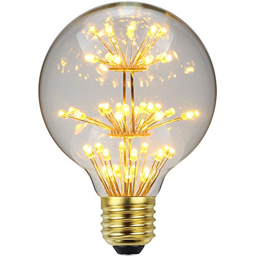 TianFan lampadina a LED RGB, effetto vintage stellato, luce calda, E27 220/240 V, Vetro, E27 3.00W 230.00V