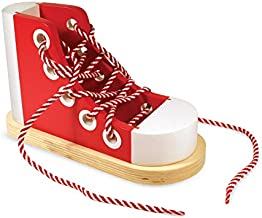 Melissa & Doug Deluxe Wood Lacing Sneaker - Learn to Tie a Shoe Educational Toy