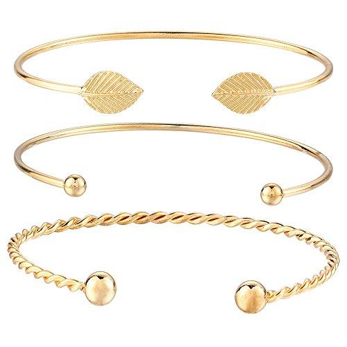 Onefeart Vergoldet Armband Bangle Für Frauen Mädchen Persönlichkeit Blätter Gestalten Offener Armreif 3Pcs/Set Gold