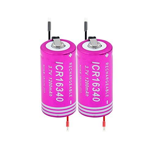 zhoudashu Batería De Iones De Litio De 3,7v 1200mah 16340, Recargable, Adecuada para Mini Ventilador De Impresora PortáTil Interphone 2pieces