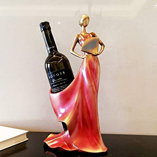 CHEJHUA Restauración Europea Antediluvian Take Fan Beauty Beauty Rack Family Mobiling Ornaments A Sala Sala Vino Armario Adorno Un Regalo de Casón Gabinete del Vino (Color : Red)