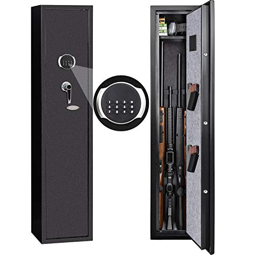 GORTES Rifle Safe, 4-Gun Quick Access Digital Keypad Security Cabinet with Removable Shelf for Shotgun and Pistol Storage, 2MM Thick Heavy Duty Iron Made, with Pistol Holsters (4 Rifles-Keypad)