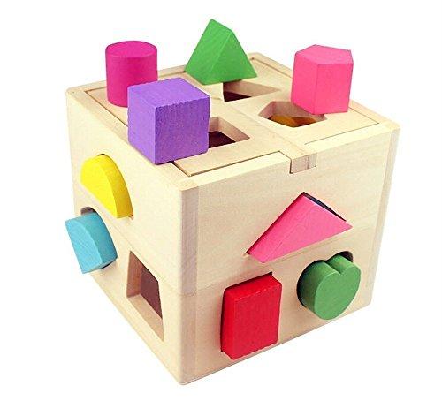 Binnan Holz Geometrie Spielzeug,Kinder Sortierwürfel Lernspielzeug Sortierspielzeug