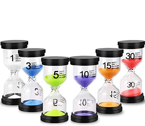 EEIEER Buntes Sanduhren Set 1/3 / 5/10 / 15/30 Minuten Zeitmesser/Glas Timer für Kinder zähneputzen, Schule, Kita, Büro, Tea Time - 6 Stück