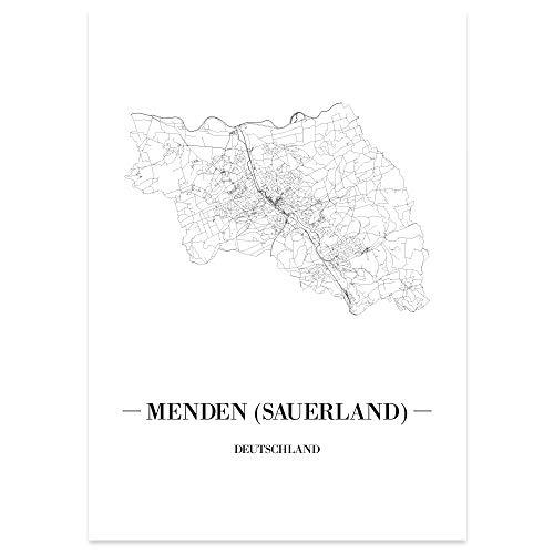 JUNIWORDS Stadtposter, Menden (Sauerland), Wähle eine Größe, 21 x 30 cm, Poster, Schrift A, Weiß