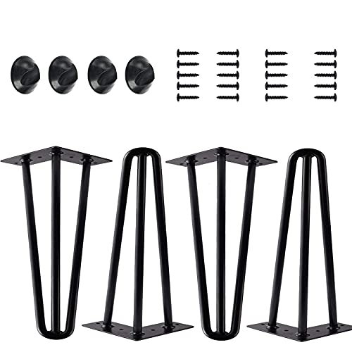 8 inch Table Legs Metal Furniture Coffee Table Legs, Hairpin Heavy Duty Dining Desk Worktop Legs 20cm Black 3 Rod Solid Iron Set of 4, Legs with Screws Non-slip Mat, DIY Modern Simple Style