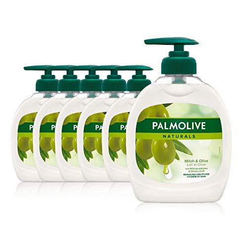 Palmolive Seife Naturals Milch und Olive 6 x 300 ml, für alle Hauttypen, Handseife, Flüssigseife