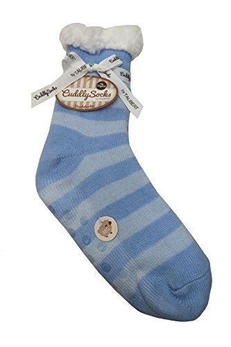 Taubert Damen Kuschelsocken Blue Hour Streifen mit ABS Sohle hellblau