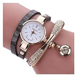 Black Leather Rhinestone Analog Quartz Wrist Watch