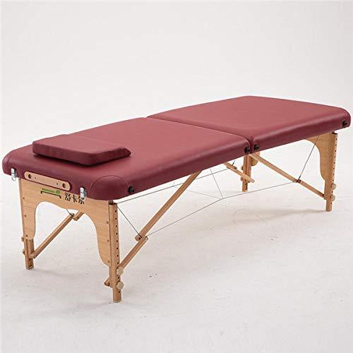 70 cm Breed 2 voudig Comfortabele Houten Massage Tafel met Draagtas Opvouwbare Draagbare Thaise Massage Tafel Wine Red Color