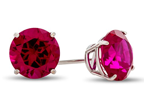 Finejewelers 14k White Gold 7mm Round Created Ruby Post-With-Friction-Back Stud Earrings