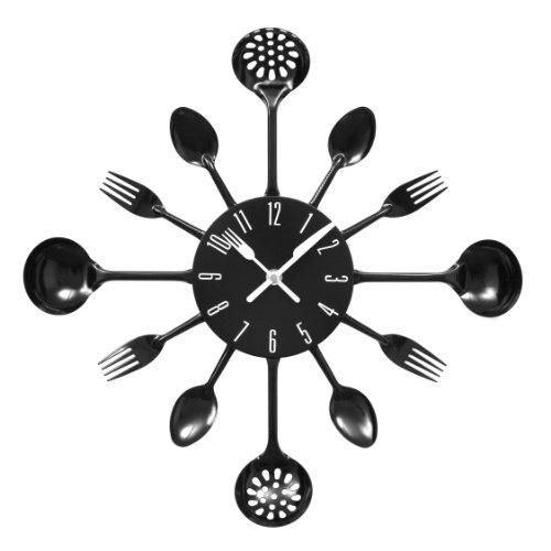 Premier Housewares PREM-2200502 Orologio da Parete, Metallo, Nero, 33x4x33 cm
