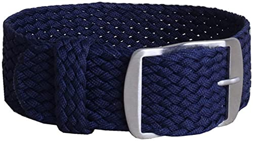 Xummy Correa de nailon trenzado, 16 mm, 18 mm, 20 mm, 22 mm, color sólido, hebilla de cinturón, correa de nailon, 16 mm, azul oscuro