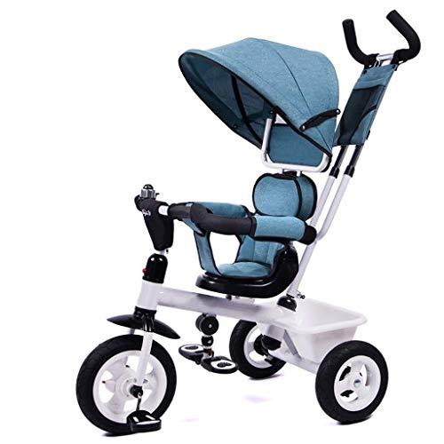 YETC Dreiräder Outdoor-Dreirad, Kinder-Geländefahrrad Mit Markise Hand Schubstange, Verstellbar 3 Farben Kinder-Buggy (Color : Blue)