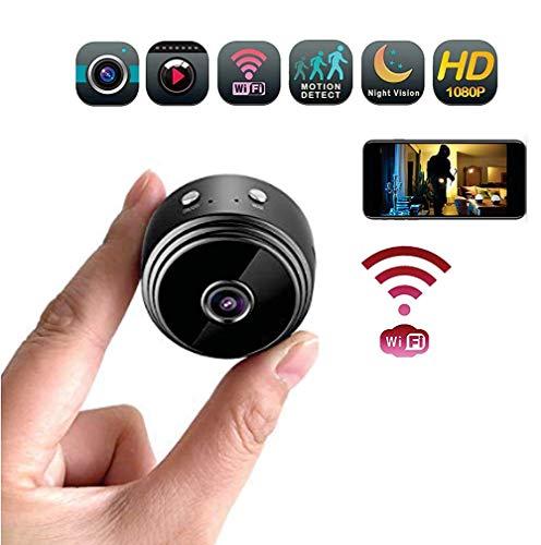 KEOA Mini Cámara Espía Oculta, HD 1080P Portátil Interior Hogar Cámara de Seguridad con Visión Nocturna Y Conexión Remota, para iPhone Android App,Black