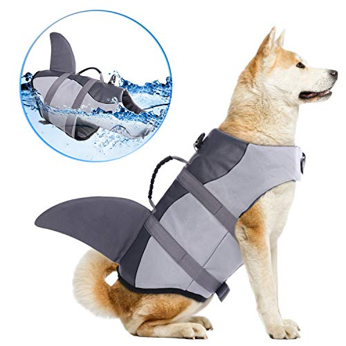 Dog Life Jackets, Ripstop Pet Floatation Life Vest for Small, Middle, Large Size Dogs, Dog Lifesaver Preserver Swimsuit for Water Safety at The Pool, Beach, Boating (Medium, Grey Shark)