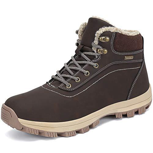 Dannto Botas Hombre Mujer Botines Zapatos Invierno Botas de Nieve Cálido Fur Forro Aire Libre Boots Urbano Senderismo Esquiar Caminando(Marrón-C,43)