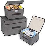 DIMJ Cajas Almacenaje con Tapa, Conjunto de 3 Caja Organizadora con...