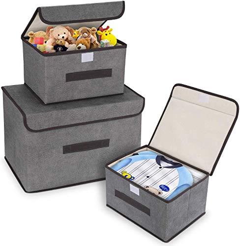 DIMJ Cajas Almacenaje con Tapa, Conjunto de 3 Caja Organizadora con Asa Contenedores de Almacenamiento Plegable Organizadores de Contenedore para Ropa Juguetes Libros (Gris)