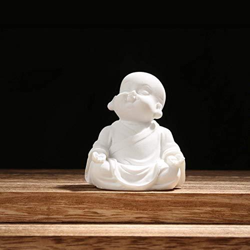 Carefree Fish Buddha Statue Minimalist Sandstone Buda Ornament Monk Figurine Zen Decor Bring Home a Ray of Sunshine