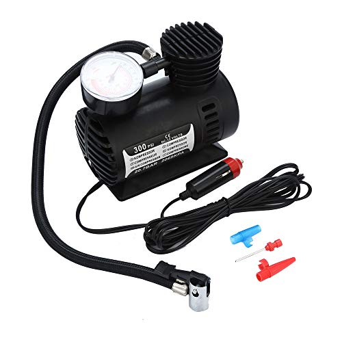 Iusun 12V Portable Mini Air Compressor 300 PSI Car Van Bike Tyre Inflator,Air Pump for Car and Bicycle Tires, Sports Balls, Airbeds, Balloon,Football, Basketball