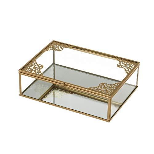 Joyero Caja de Cristal y Metal Dorada clásica, de 20x14x6 cm - LOLAhome