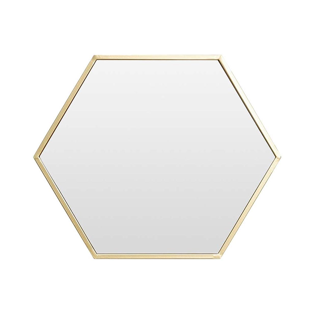合理化データム不運壁の台紙の浴室ミラー、六角形の寝室のドレッシングのテーブルミラー、デスクトップの化粧鏡リビングルーム壁の装飾ミラー,41*48CM